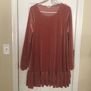 Easel mauve/pink velvet layered long sleeve dress